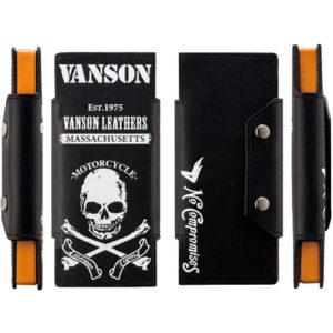 vanson 二つ折りPTレザーケース スカル プルーム・テック対応 VP-115-07-PT